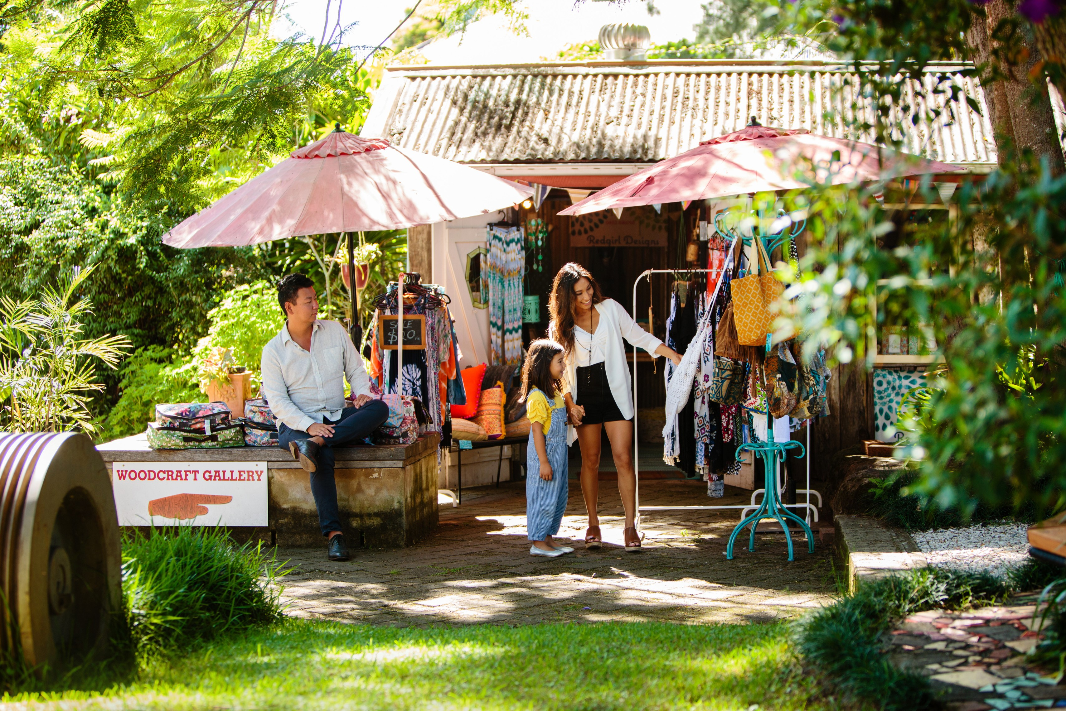 Image of a family shopping at Bellingen on the NSW Coffs Coast