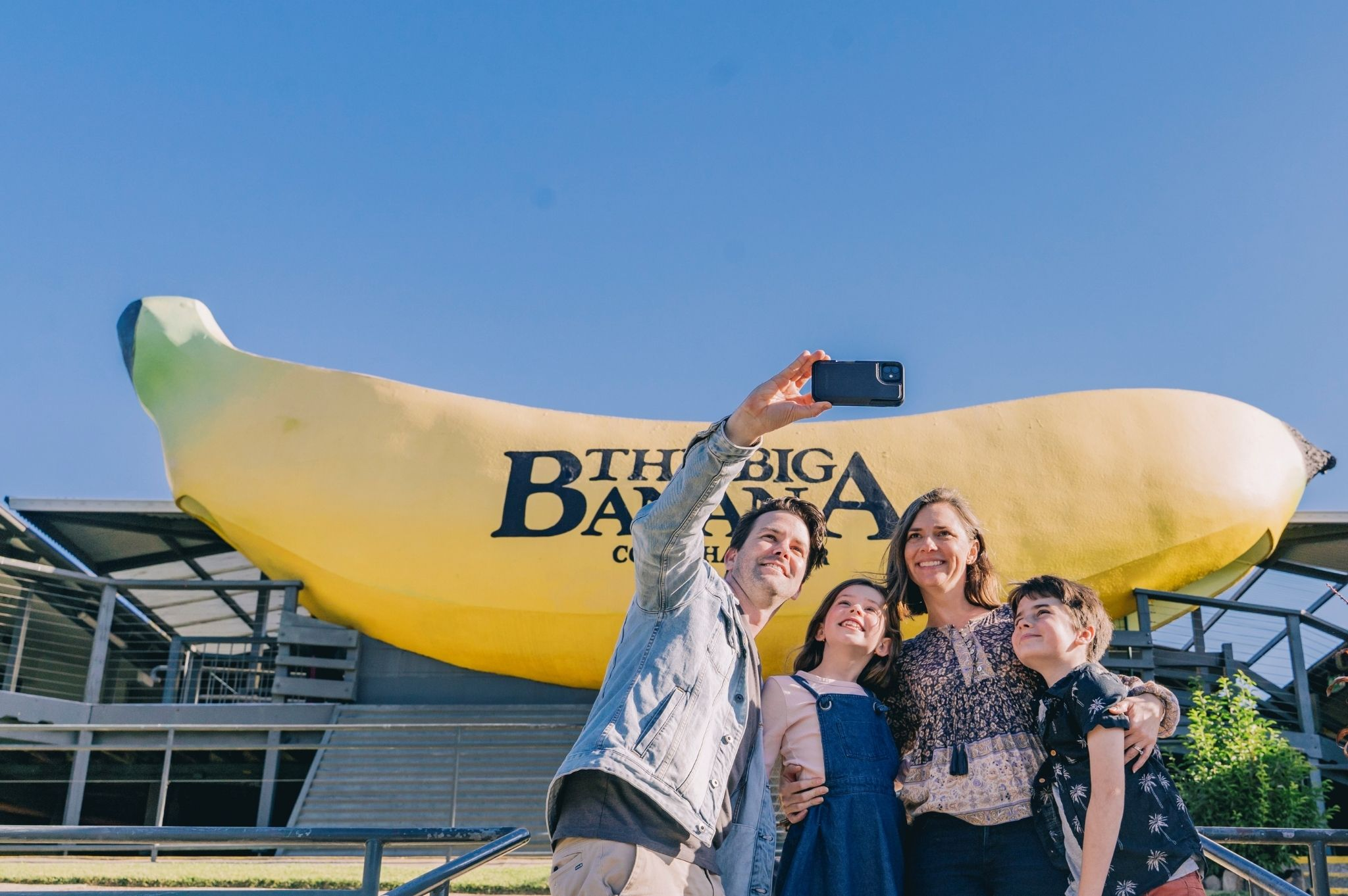 Image of a family taking a selfie at The Big Banana Fun Park in Coffs Harbour NSW