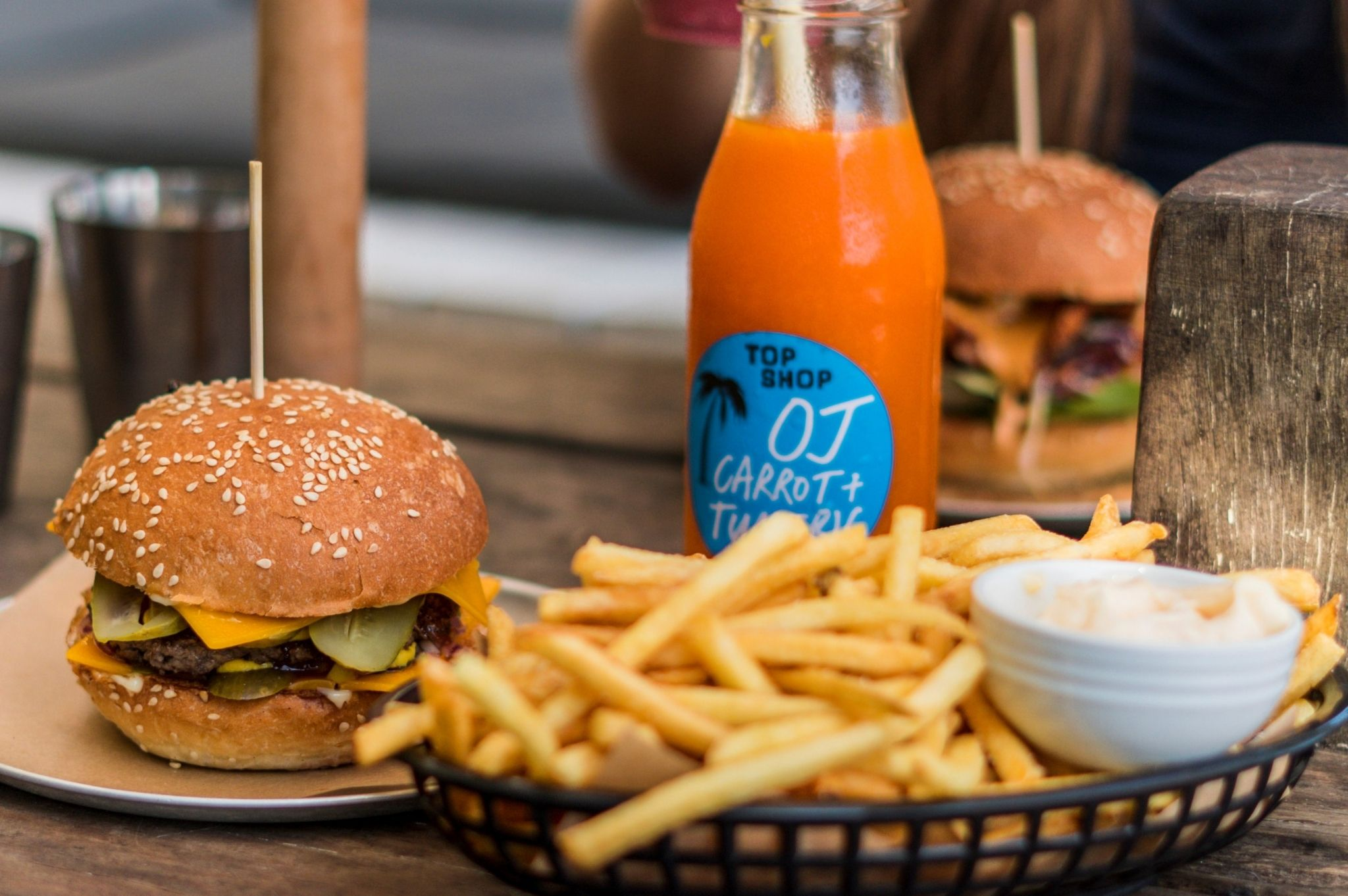 Image of a burger and chips at a cafe in Byron Bay NSW