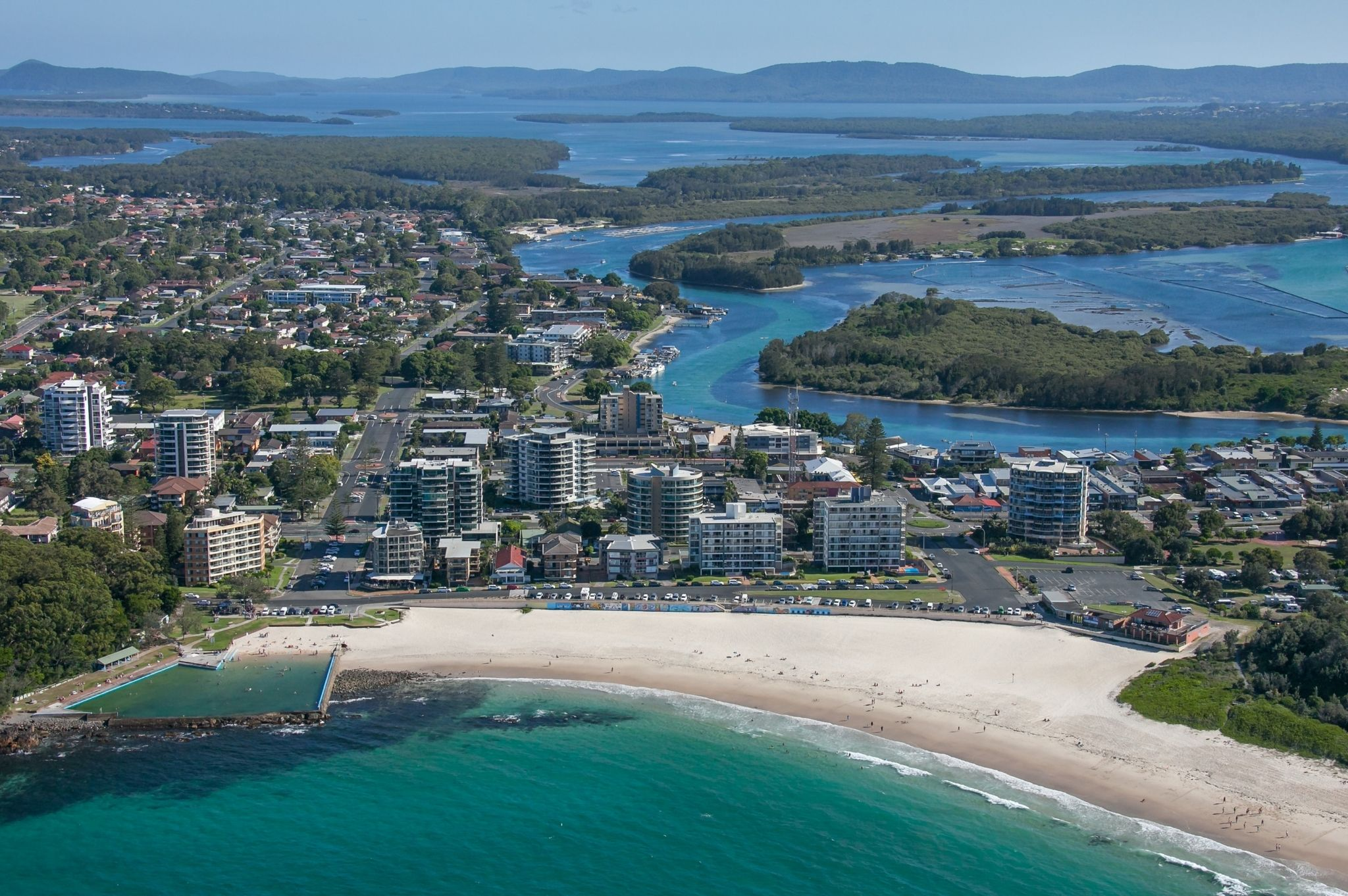 An aerial view of Forster Beach in NSW