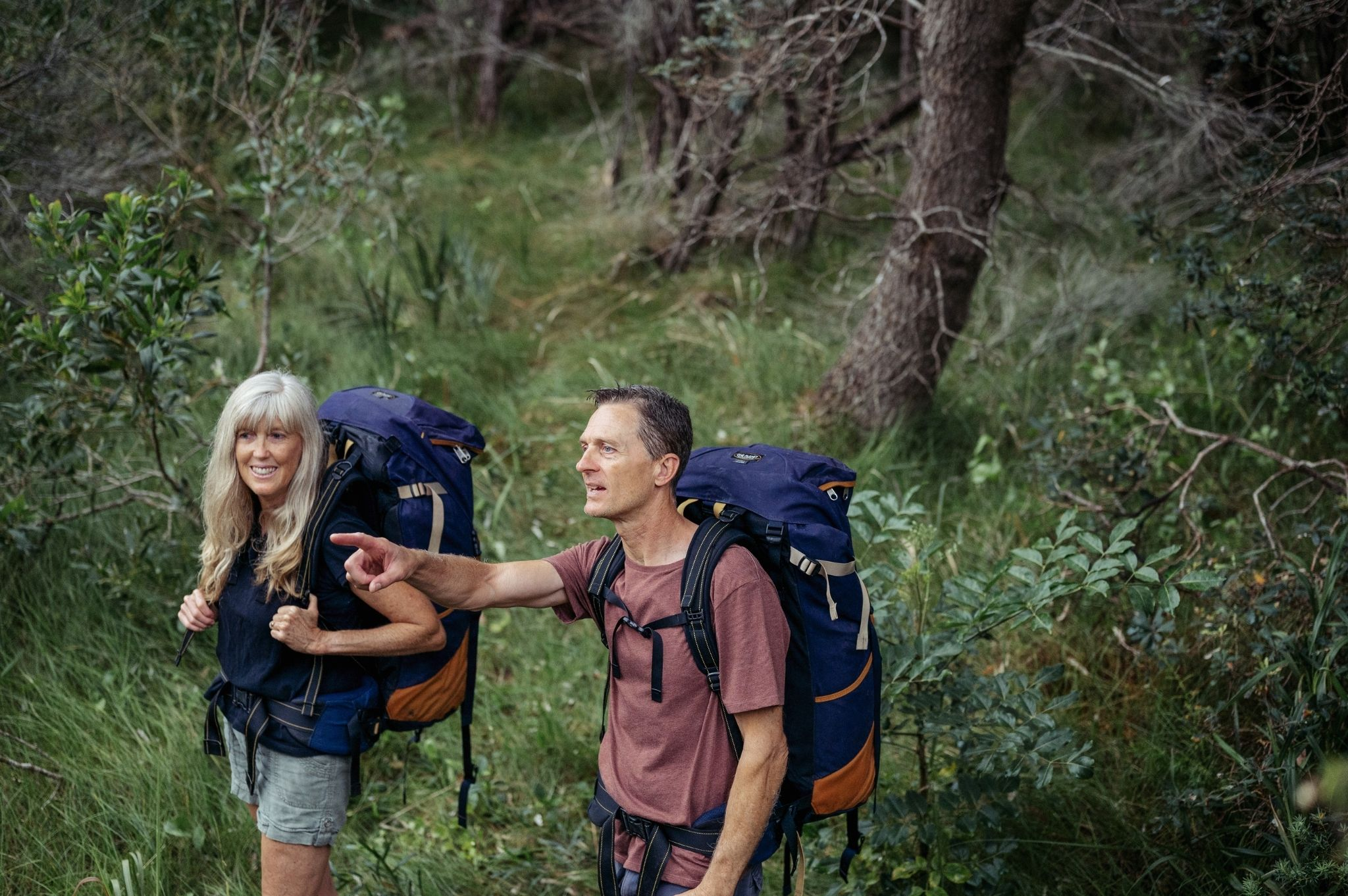 Image of a couple hiking in Hawks Nest NSW