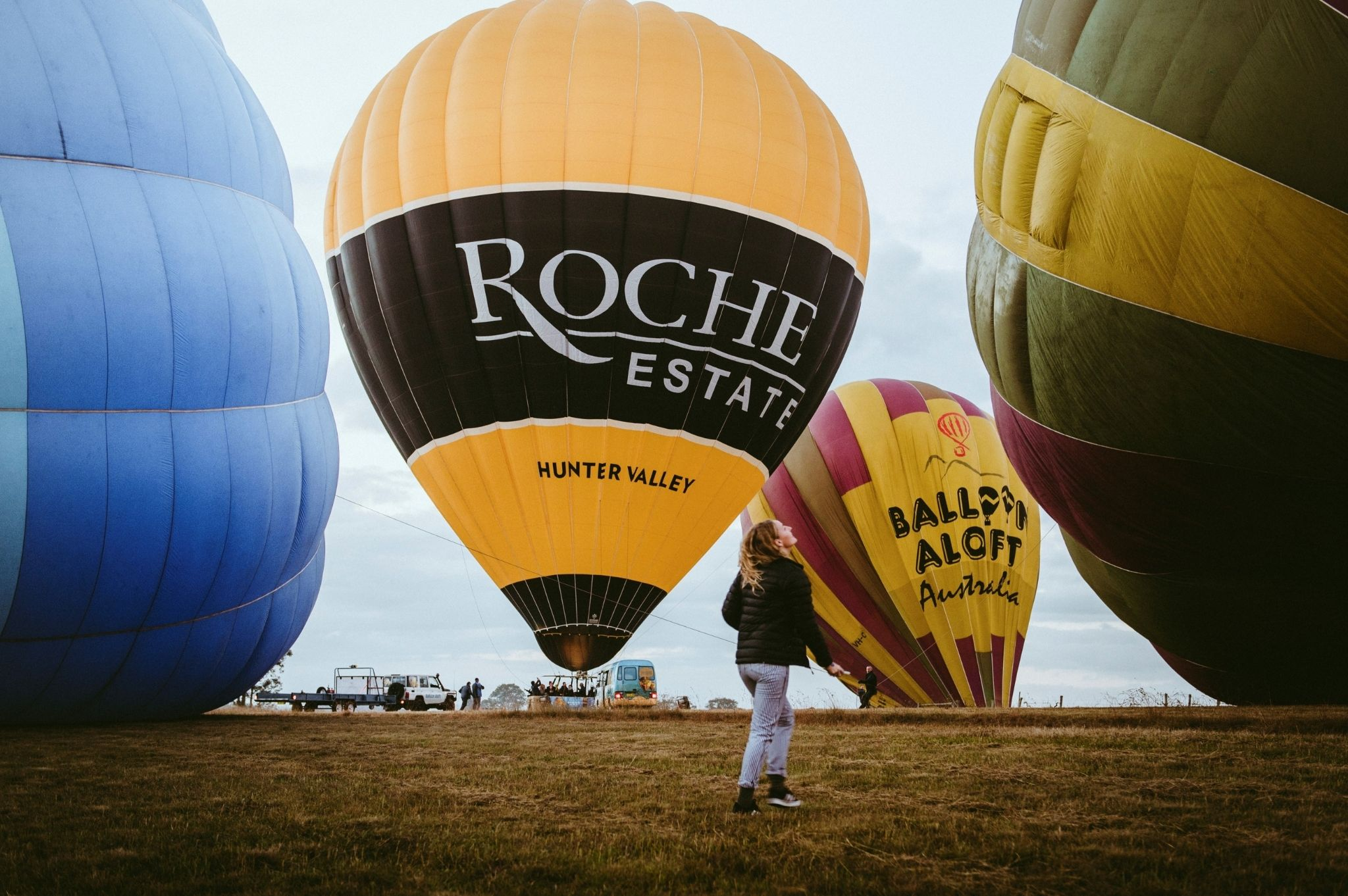 Image of a woman Hot Air Ballooning in the NSW Hunter Valley