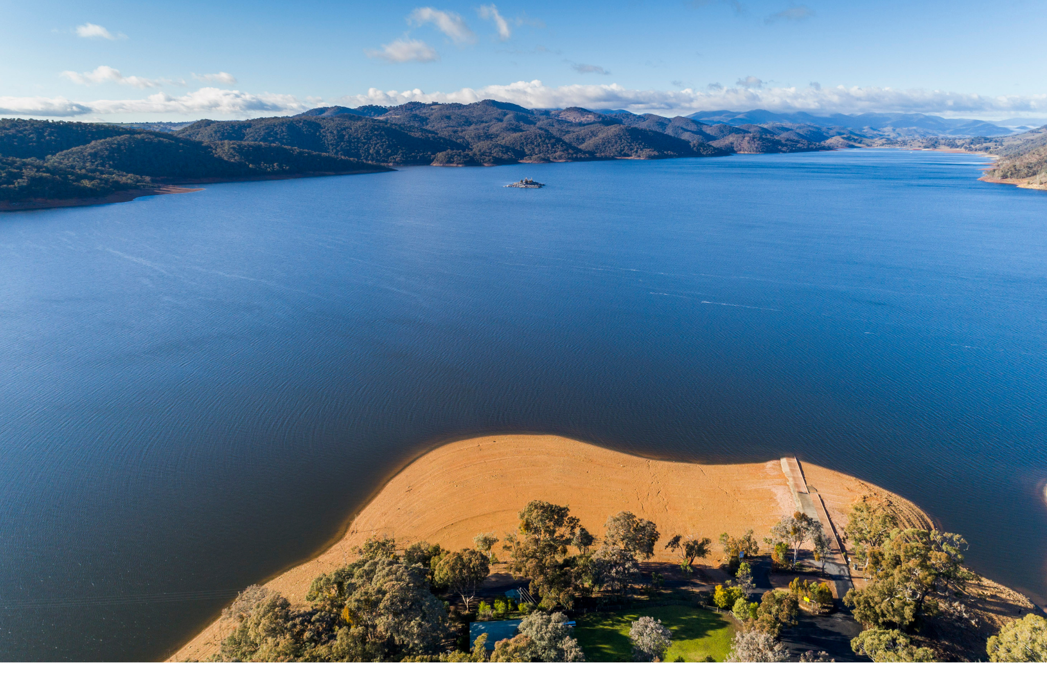 An aerial view of Burrinjuck Dam in NSW