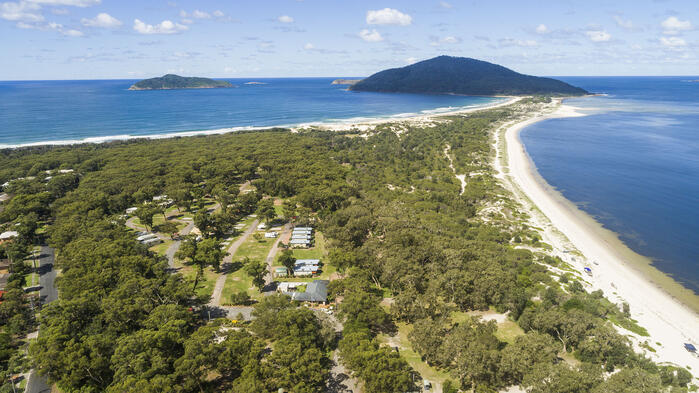 An aerial view of Reflections Holiday Parks Jimmys Beach