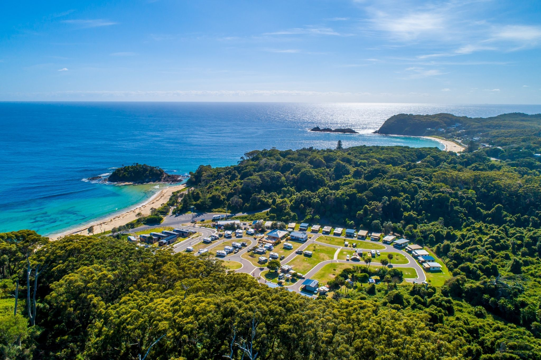 An aerial image of Reflections Holiday Parks Seal Rocks