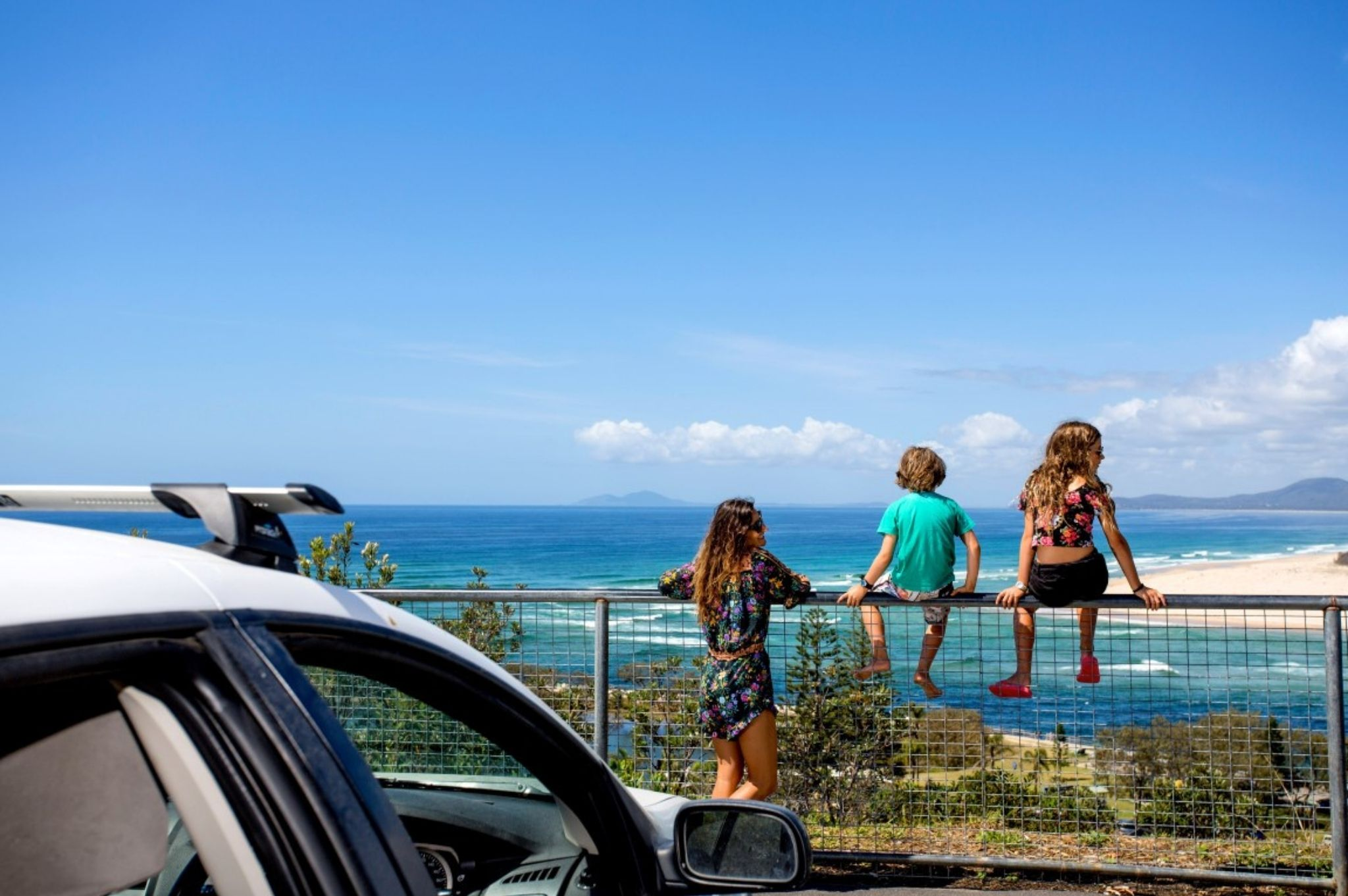 Image of family looking at beach views at Nambucca Heads in Coffs Harbour NSW